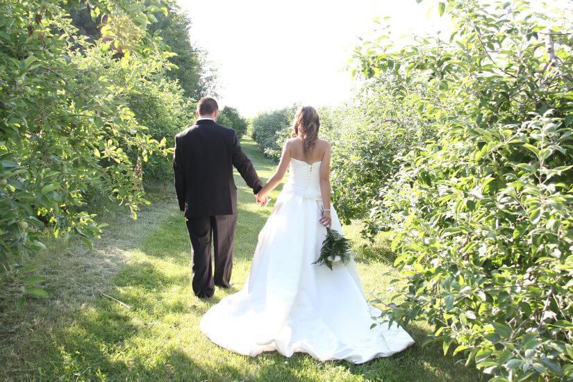 Mariés allée dans les vergers