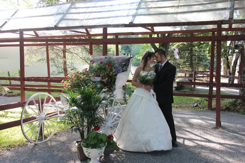 Mariés et calèche